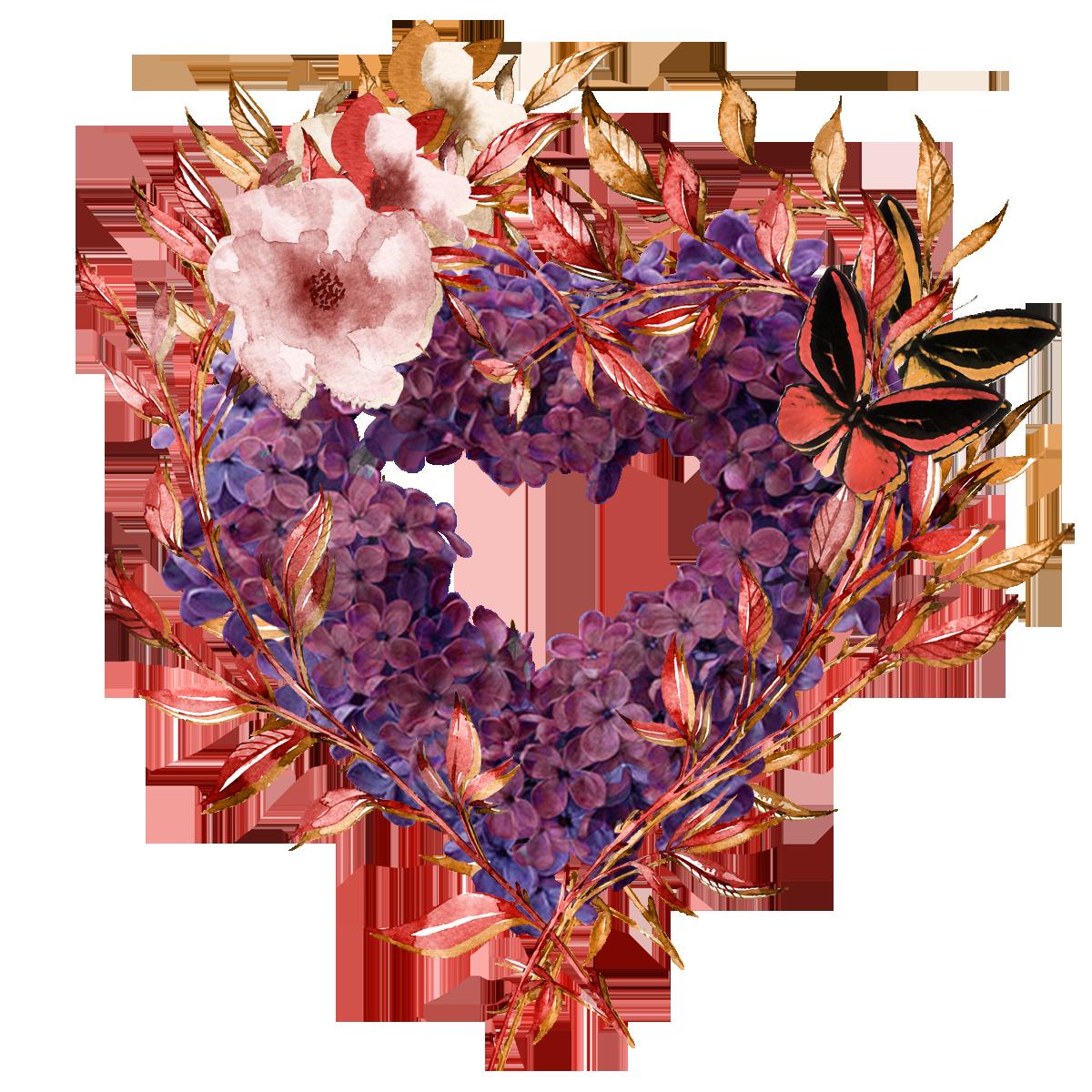 corazon flores mezcla rojo
